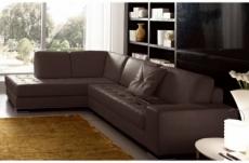 - canapé d'angle divano en cuir italien vachette de qualité, chocolat, angle gauche