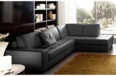 canapé d'angle divano en cuir italien vachette de qualité, noir, angle droit