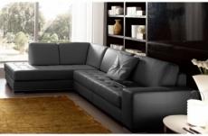 canapé d'angle divano en cuir italien vachette de qualité, noir, angle gauche
