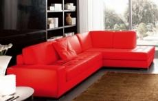 canapé d'angle divano en cuir italien vachette de qualité, rouge, angle droit