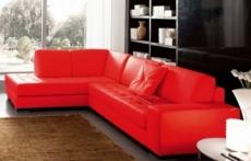 canapé d'angle divano en cuir italien vachette de qualité, rouge, angle gauche