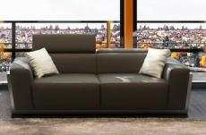 canapé 2 places en cuir italien divin, gris foncé