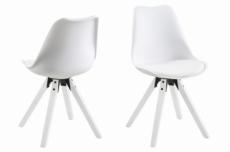 lot de 2 chaises design blanches avec pieds en bois peints en blanc, mixita
