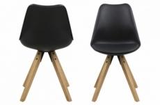 lot de 2 chaises design noires avec pieds en bois, dixona