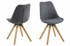 lot de 2 chaises design tissu gris foncé avec pieds en bois, dizina
