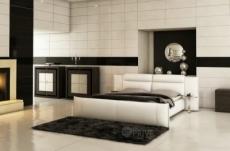 lit en cuir italien de luxe dorna, blanc