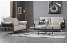ensemble ensemble canapé 3 places et 2 places en cuir italien buffle dublin, couleur blanc cassé et liseret noir