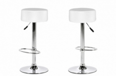 lot de 2 tabourets design en simili cuir blanc, dustin