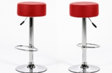 lot de 2 tabourets design en simili cuir rouge, dustin