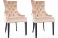 lot de 2 chaises edwin tissu velours de qualité, couleur beige