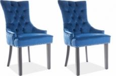 lot de 2 chaises edwin tissu velours de qualité, couleur bleu