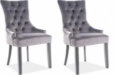 lot de 2 chaises edwin tissu velours de qualité, couleur gris