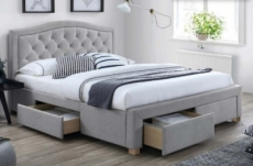 lit double en tissu de qualité elena, gris, avec sommier à lattes, 140x200