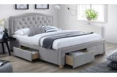 lit double en tissu de qualité elena, gris, avec sommier à lattes, 180x200