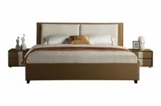 lit design en cuir et tissu de luxe eline, choisissez la couleur du cuir et du tissu, 140x190