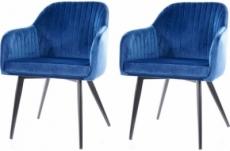 lot de 2 chaises elios en tissu velours de qualité, couleur bleu