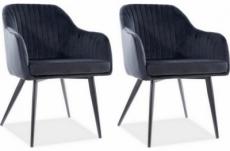 lot de 2 chaises elios en tissu velours de qualité, couleur noir