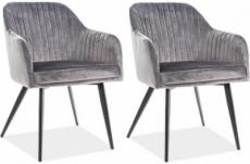 lot de 2 chaises elios en tissu velours de qualité, couleur gris