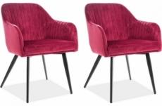 lot de 2 chaises elios en tissu velours de qualité, couleur bordeaux
