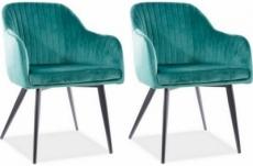 lot de 2 chaises elios en tissu velours de qualité, couleur vert