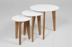 ensemble de 3 tables basses design elise en bois lacqué blanc