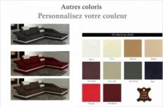 canapé d'angle en cuir italien 5 places elvir, couleurs personnalisées, angle droit
