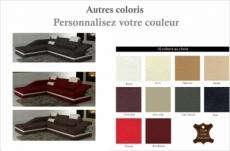 canapé d'angle en cuir italien 5 places elvir, couleurs personnalisées, angle gauche