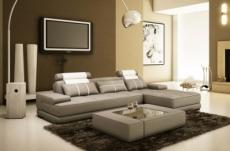 canapé d'angle en cuir italien 5 places elixa, gris clair et blanc
