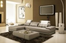 canapé d'angle en cuir italien 5 places elixa, gris clair pastel et  blanc