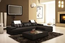 canapé d'angle en cuir italien 5 places elixa, noir et  blanc