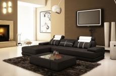 - canapé d'angle en cuir italien 5 places elixa, noir et  blanc