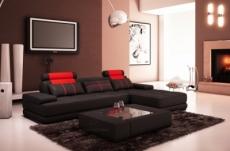 canapé d'angle en cuir italien 5 places elixa, noir et rouge