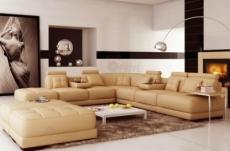 canapé d'angle en cuir italien 7/8 places elixir, beige.