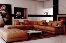 canapé d'angle en cuir italien 7/8 places elixir, marron
