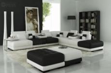 canapé d'angle en cuir italien 6/7 places petit elixir, blanc noir, angle droit