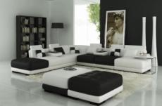 canapé d'angle en cuir italien 6/7 places petit elixir, blanc et noir, angle gauche