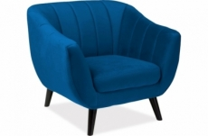fauteuil elsa 1 place en tissu de qualité, couleur bleu foncé