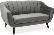 canapé elsa 2 places en tissu de qualité, couleur gris