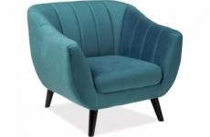 fauteuil elsa 1 place en tissu de qualité, couleur turquoise