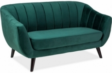 canapé elsa 2 places en tissu de qualité, couleur vert