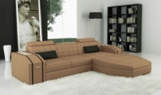 canapé d'angle en cuir italien 5 places elson, beige et noir