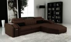 canapé d'angle en cuir italien 5 places elson, chocolat et noir