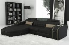 canapé d'angle en cuir italien 5 places elson, noir et beige