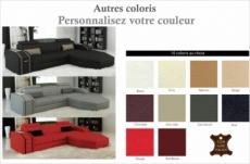 canapé d'angle en cuir italien 5 places elson, couleur personnalisée