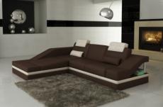 canapé d'angle en cuir italien 5 places elvir, chocolat et écru
