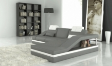 canapé d'angle en cuir italien 5 places elvir, gris clair et blanc.