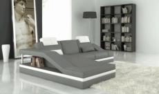 canapé d'angle en cuir italien 5 places elvir, gris clair et blanc