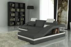 canapé d'angle en cuir italien 5 places elvir, gris foncé et blanc.