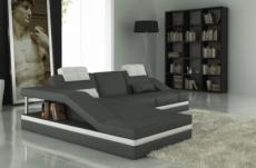 canapé d'angle en cuir italien 5 places elvir, gris foncé et blanc