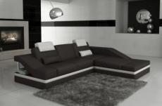 canapé d'angle en cuir italien 5 places elvir, noir et blanc